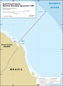 Brazil - French Guiana maritime boundary map