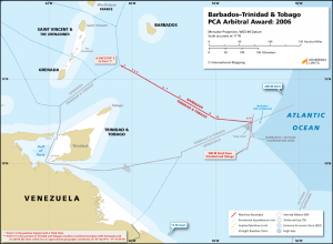 Barbados – Trinidad & Tobago maritime boundary map