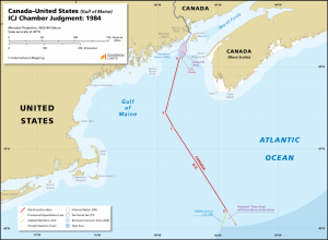 Canada - United States maritime boundary map