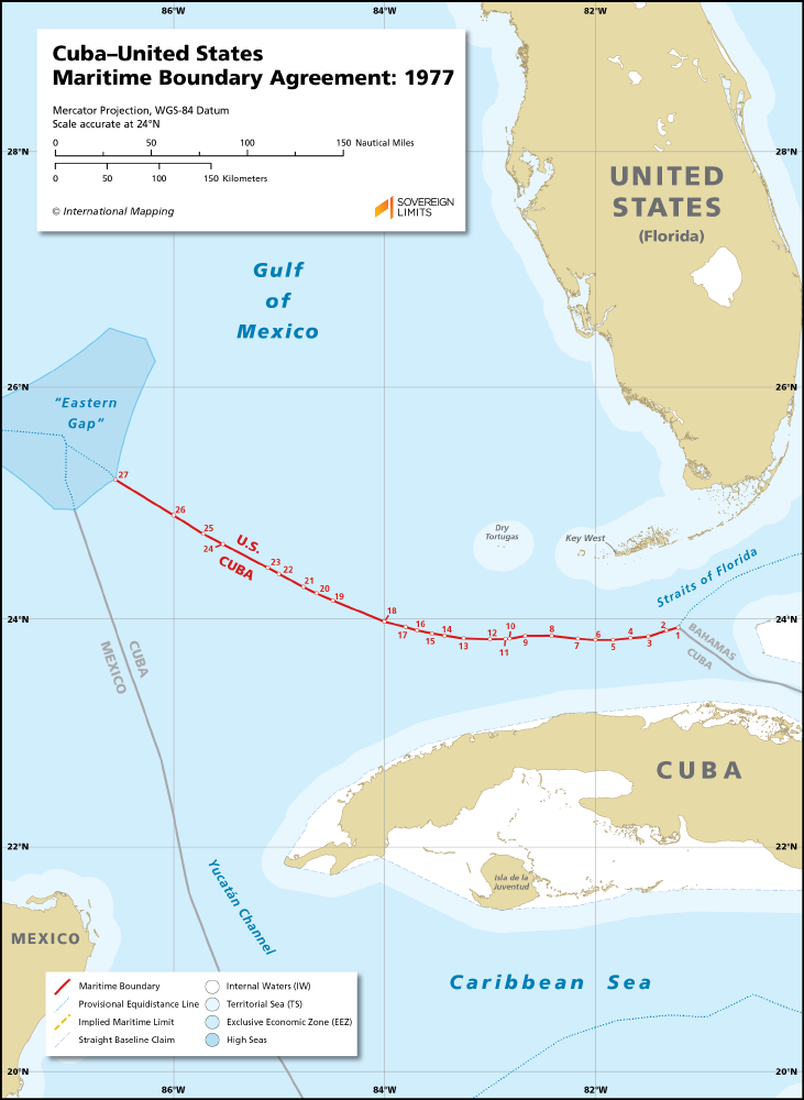Cubaunited States Maritime Oundary Agreement 1977 Sovereign Limits - Map-of-us-and-cuba