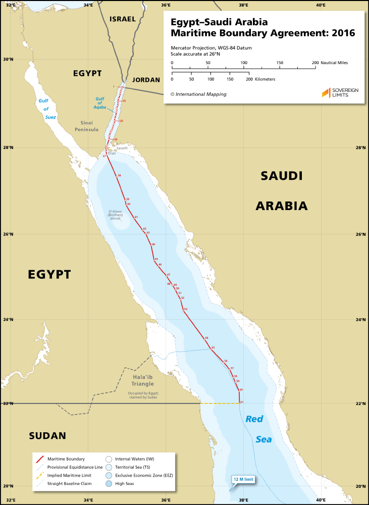 Egypt - Saudi Arabia maritime boundary map