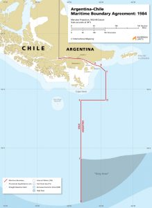 map of the southern most maritime boundary in the world, between Chile and Argentina