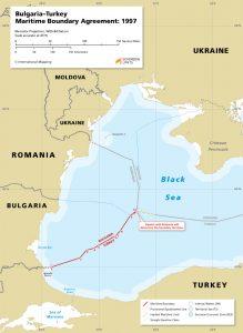 Map of the Bulgaria - Turkey maritime boundary
