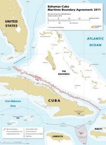 Map of the 2011 maritime boundary between Bahamas and Cuba