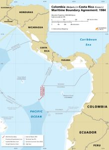 Map of the Colombia - Costa Rica maritime boundary