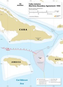 map of the maritime boundary between Cuba and Jamaica