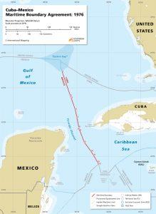 Cuba Mexico maritime boundary map