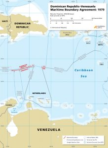 Dominican Republic - Venezuela maritime boundary map