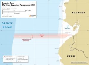 map of the Ecuador - Peru maritime boundary