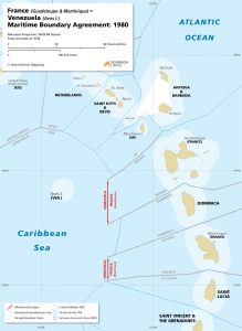 France (Guadeloupe & Martinique) - Venezuela maritime boundary map