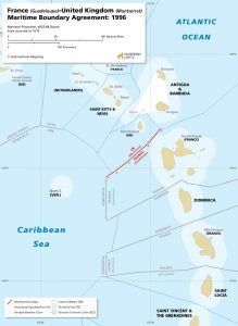 Map of the Guadeloupe – Montserrat maritime boundary