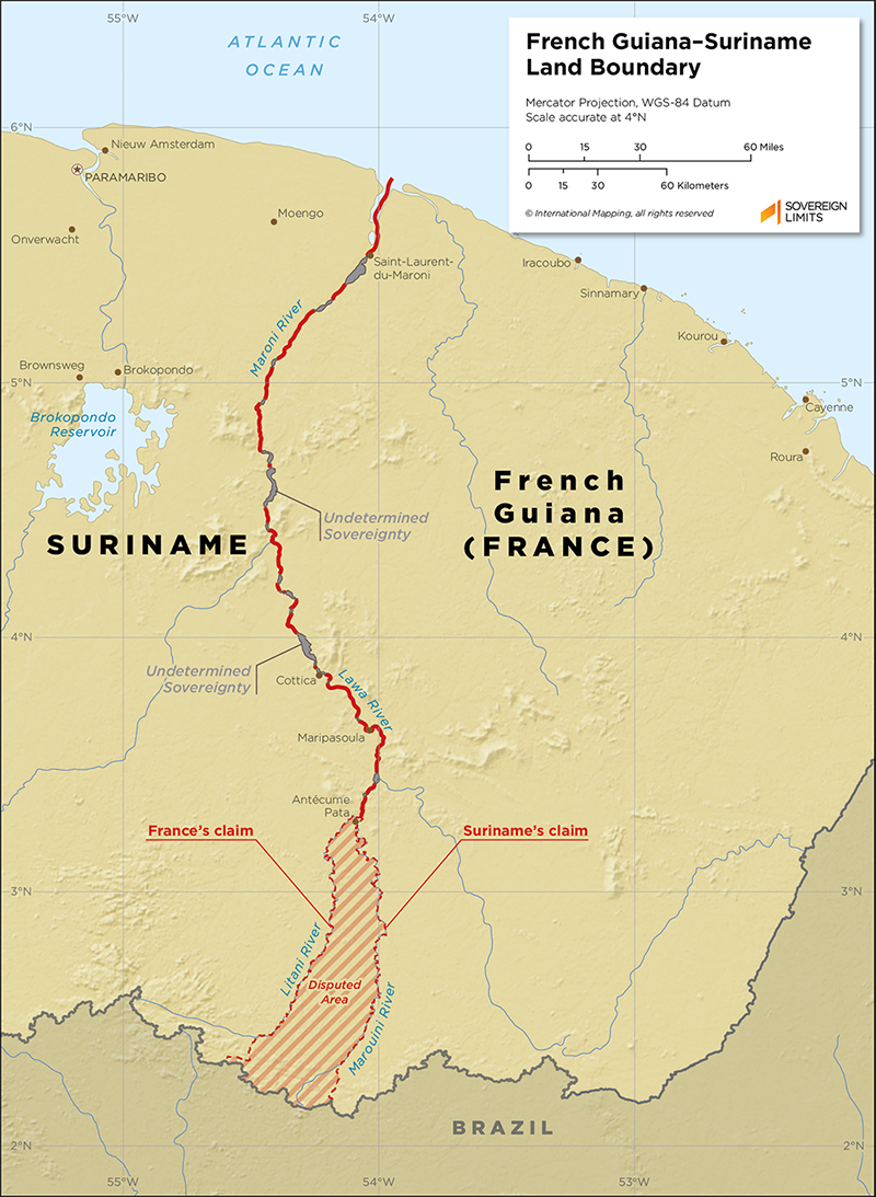 Map showing the land boundary between French Guiana and Suriname