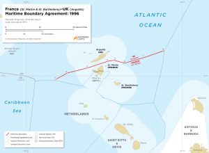 France - UK maritime boundary in the Caribbean between St. Martin, St. Barthelemy and Anguilla