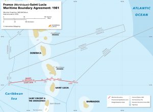 map of the France (Martinique) – Saint Lucia maritime boundary