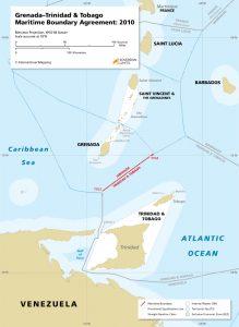 Grenada - Trinidad & Tobago maritime boundary map