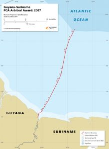 map of the Guyana - Suriname maritime boundary