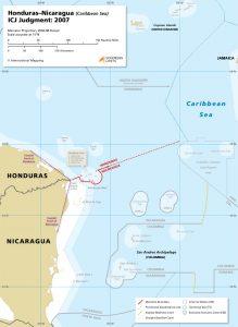 Honduras - Nicaragua maritime boundary map
