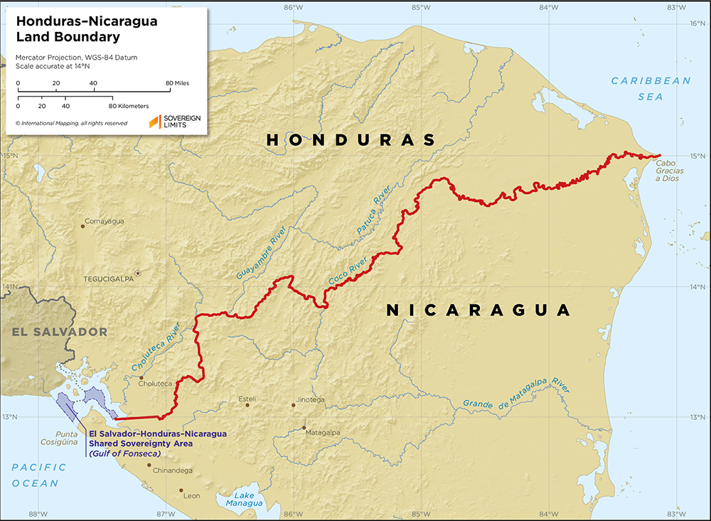 Map showing the land boundary between Honduras and Nicaragua