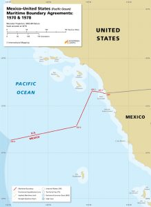 map of the Mexico – United States maritime boundary in the Pacific Ocean