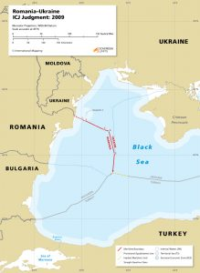 map of the maritime boundary between Romania and Ukraine