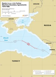 Map of the Russia - Turkey maritime boundary