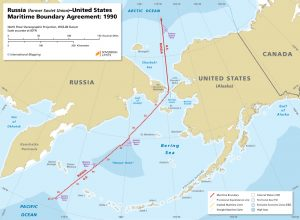 Russia – United States maritime boundary map