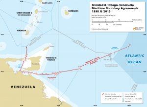 Trinidad & Tobago - Venezuela maritime boundary map