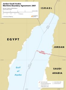 A map of the Jordan – Saudi Arabia maritime boundary