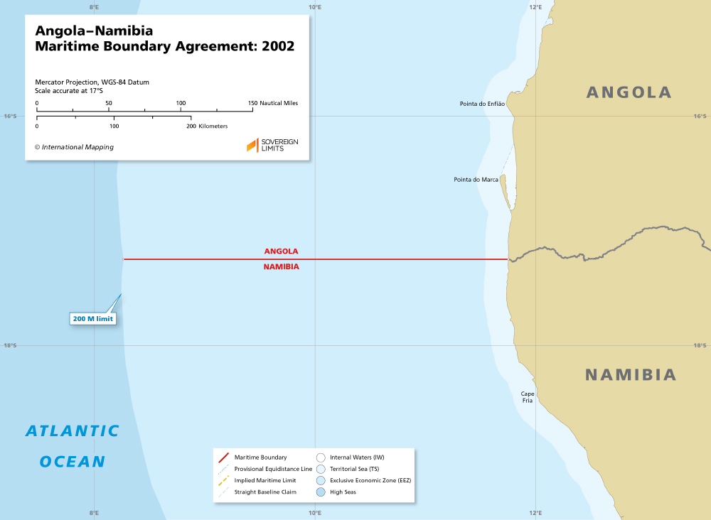 a map of the Angola–Namibia maritime boundary