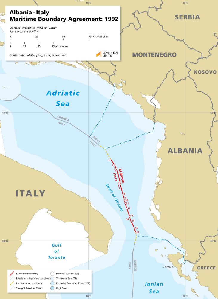 Italy – Albania Maritime boundary map 1992