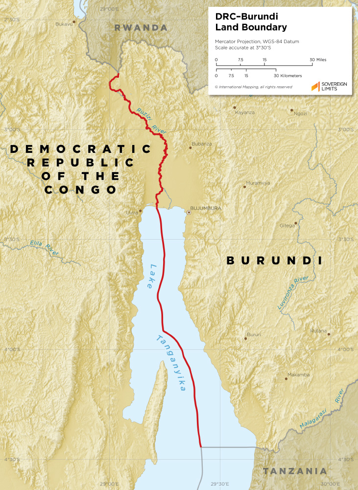 Burundi – Democratic Republic of Congo land boundary map