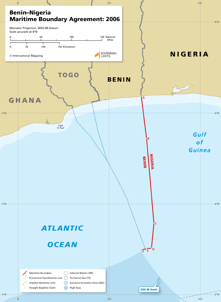 Map of the Benin - Nigeria maritime boundary