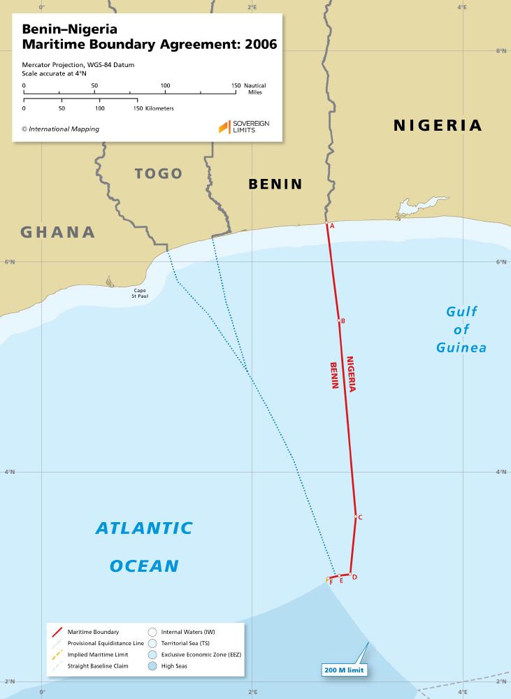 Map of the Benin - Nigeria maritime boundary