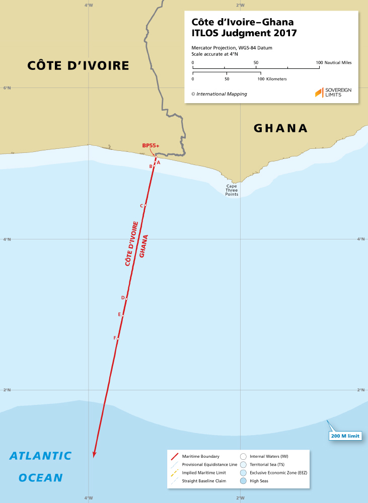 Côte d'Ivoire - Ghana maritime boundary from 2017 ITLOS judgement