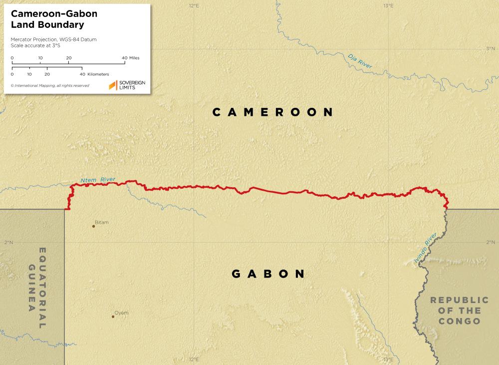 Cameroon–Gabon land boundary map