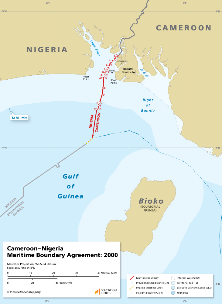 map of the Cameroon Nigeria maritime boundary