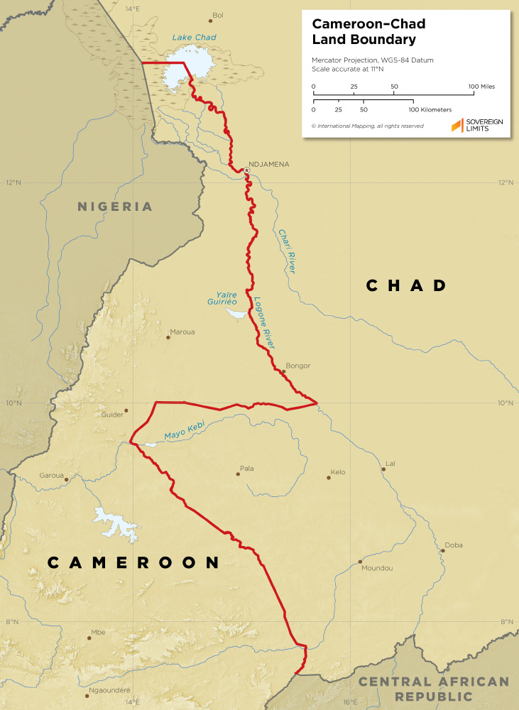 Cameroon – Chad land boundary map