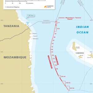 map of the maritime boundary between Comoros and Mozambique