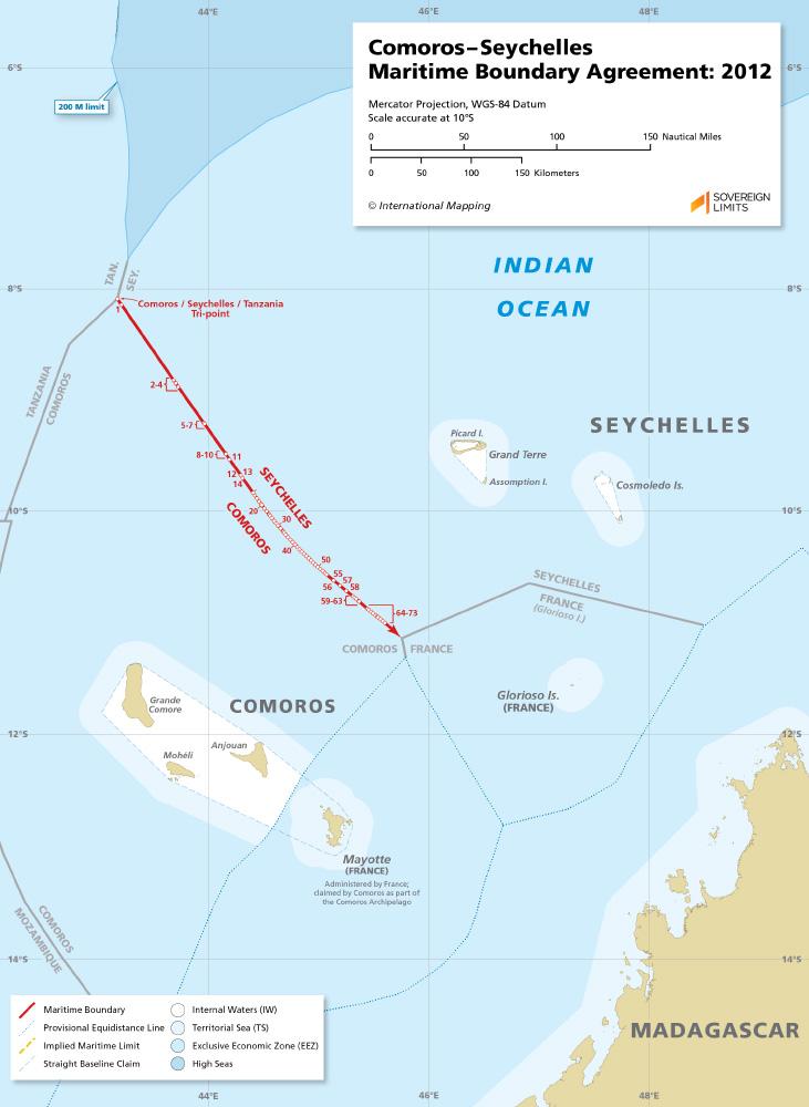 Comoros – Seychelles maritime boundary map