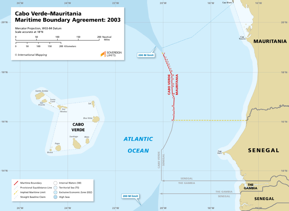 Map of the Cabo Verde–Mauritania maritime boundary