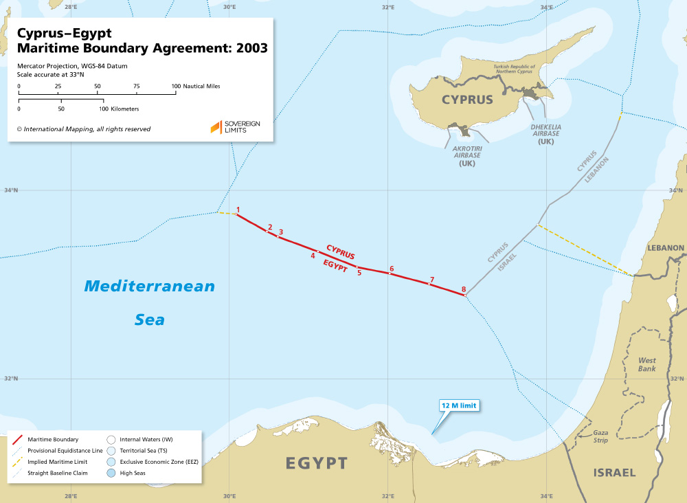 Cyprus – Egypt maritime boundary map 2003
