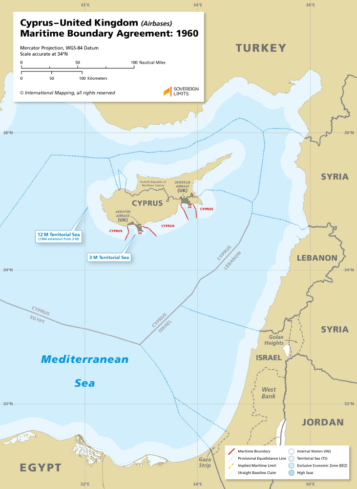 map of the maritime boundary between Cyprus and the UK bases of Akrotiri & Dhekelia