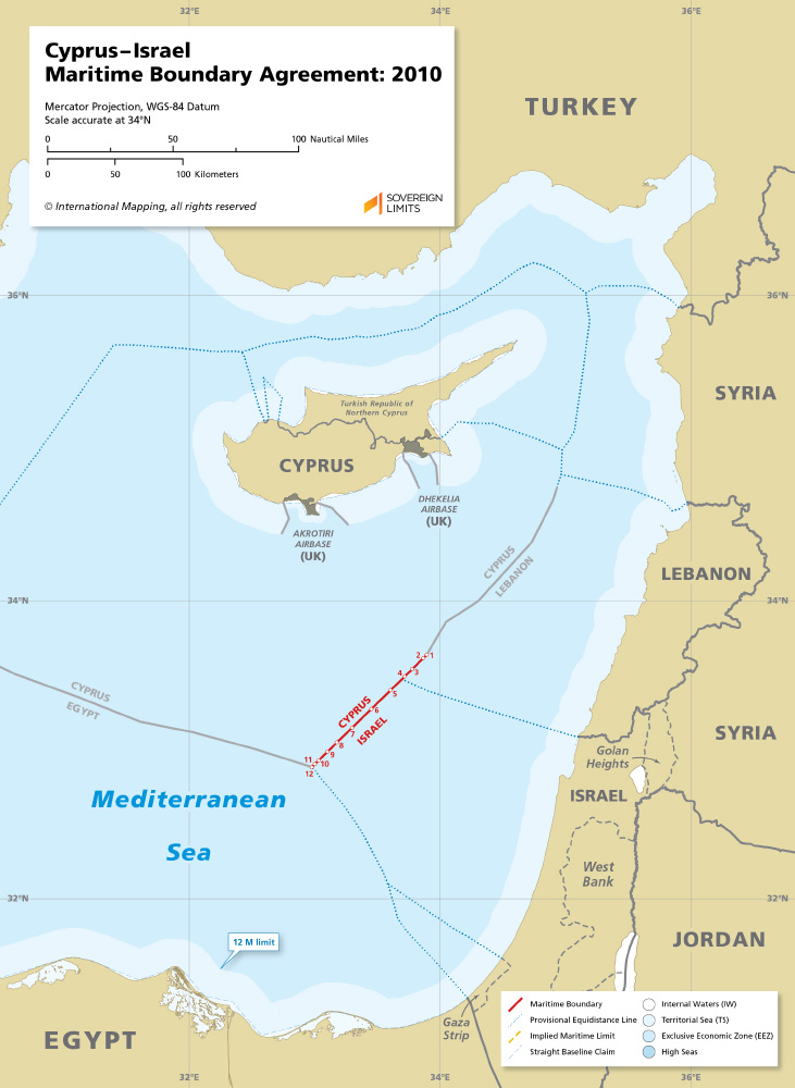 Cyprus – Israel maritime boundary map 2010