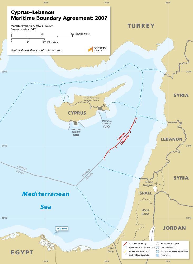 Cyprus – Lebanon maritime boundary map 2007