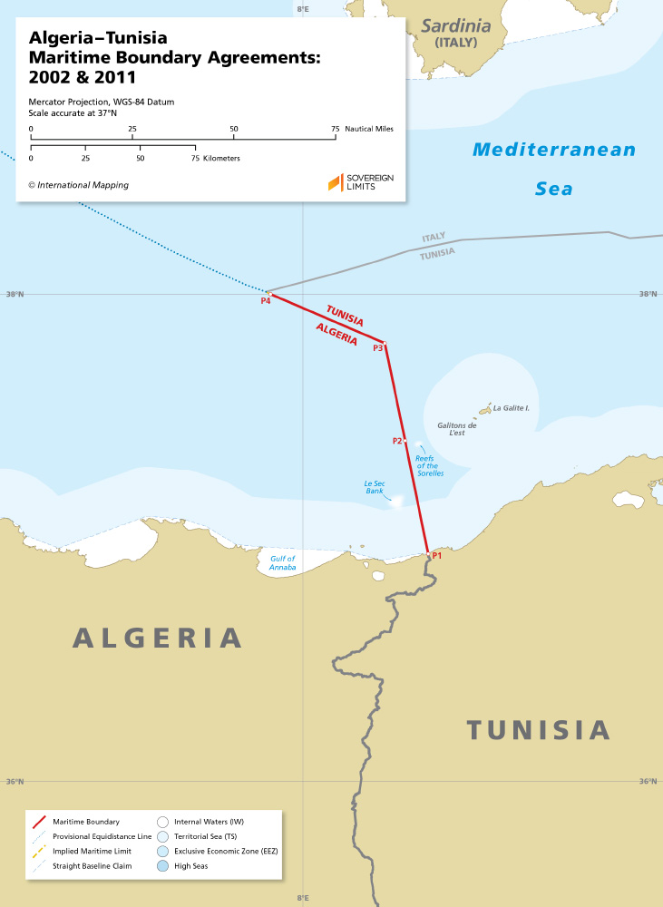 map of the Algeria - Tunisia maritime boundary