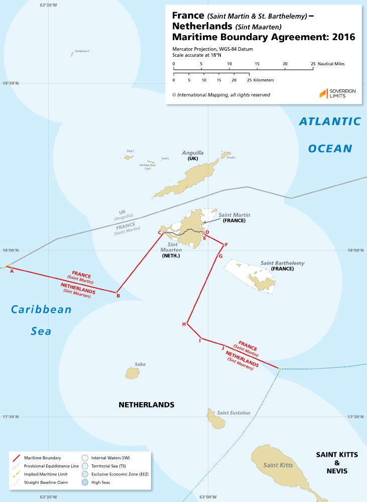 St Martin & St. Barthelemy – Sint Maarten maritime boundary map