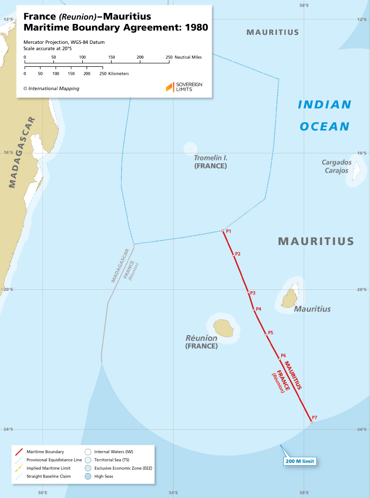 France (Réunion) – Mauritius maritime boundary map
