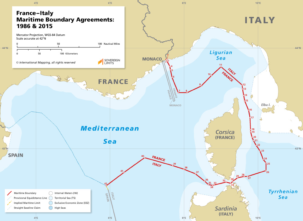 Map Of France N Italy.France Italy Maritime Boundary Agreements Sovereign Limits