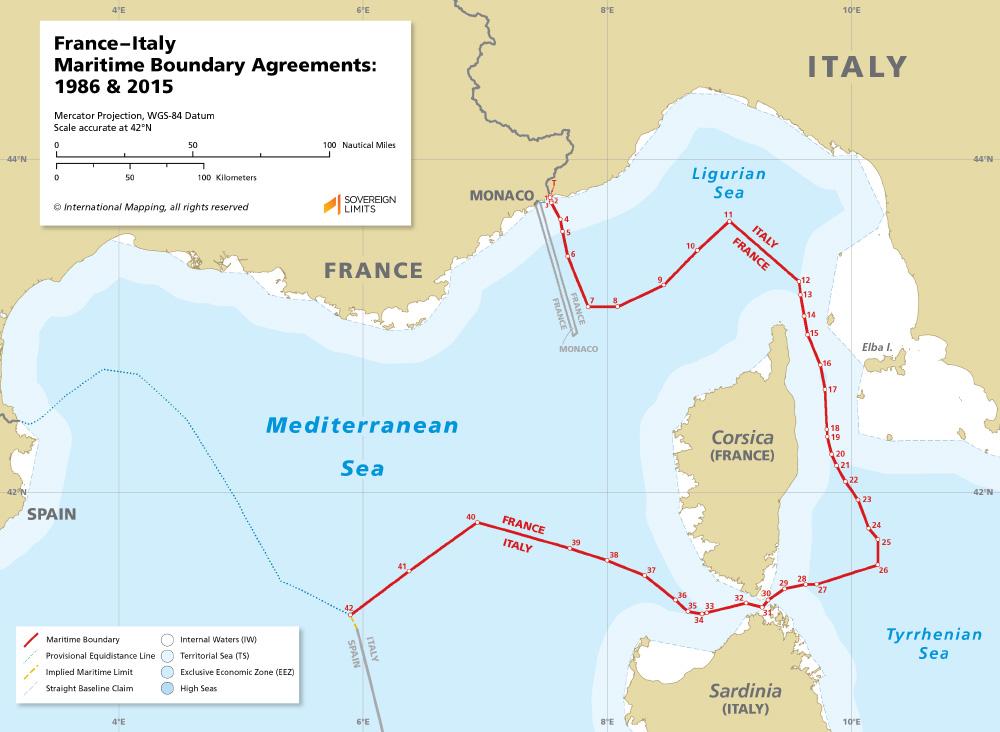 France – Italy maritime boundary map