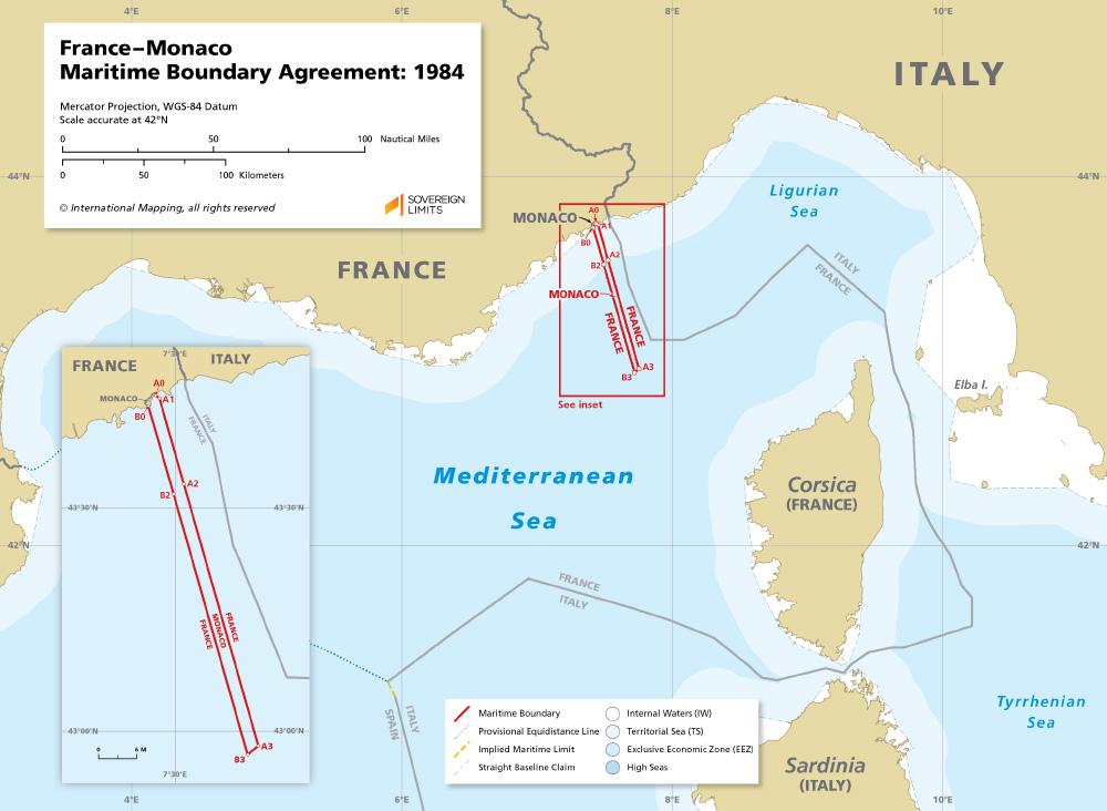 France – Monaco maritime boundary map 1984